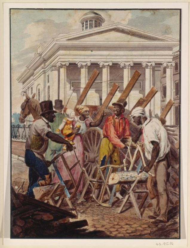 Black Sawyers Working in Front of the Bank of Pennsylvania