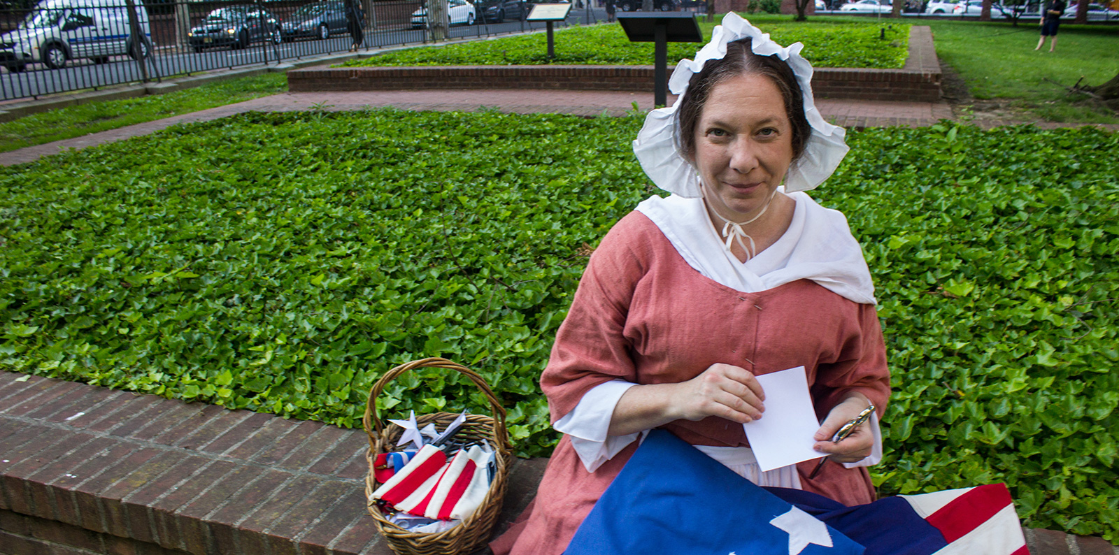 betsy ross interpreter on a bench
